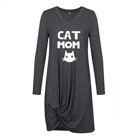 Long Sleeve Twisted Cat Mom Dress
