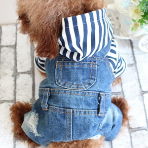 Denim Stripe Doggie Jumpsuit w/ Hoodie