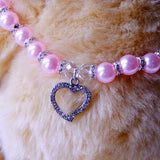 Pet Pearl Rhinestone Necklace for Small Pets