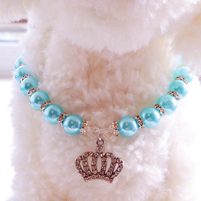 Pet Pearl Rhinestone Necklace