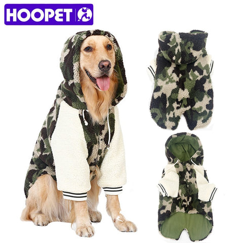 Camouflage Fleece Jumpsuit with Hoodie for Large Dogs