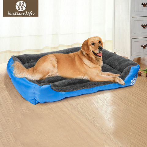 Soft Dog Bed With Paw Emblem