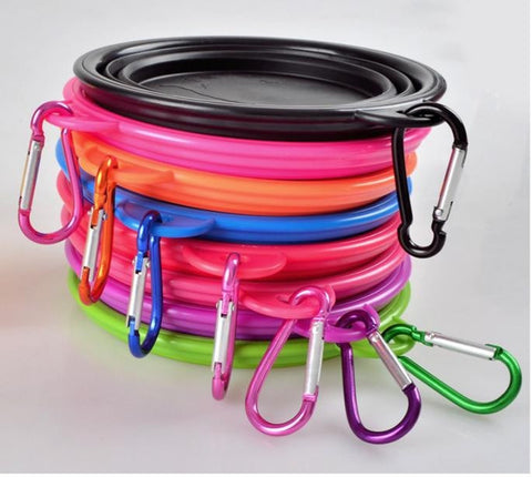 Hot Selling! Pet Silicone Bowl, Folding Portable Dog Bowls with Carabiner