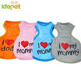 "New Summer Dog T-Shirt ""I Love My Mommy"""