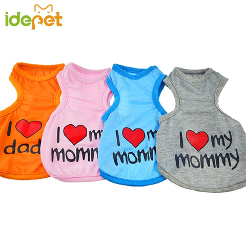 "New Summer Dog T-Shirt ""I Love My Mommy & Daddy"