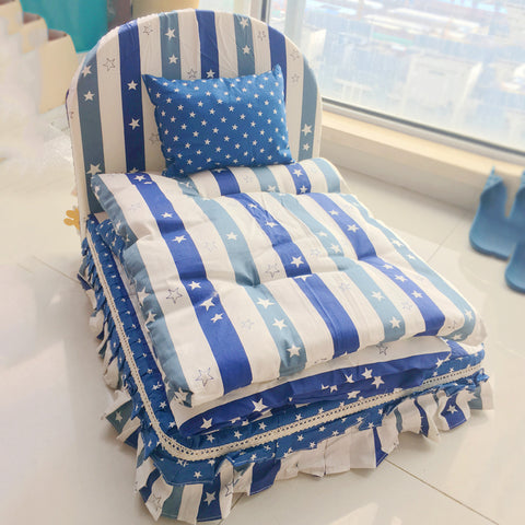 Luxury Washable Pet Bed Blue Coffee Pillow Blanket Cushion Bedding Sets