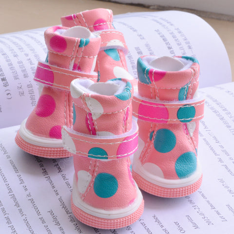 New Pink WhitebDots Dog Shoe Boots For Puppy Small Animals