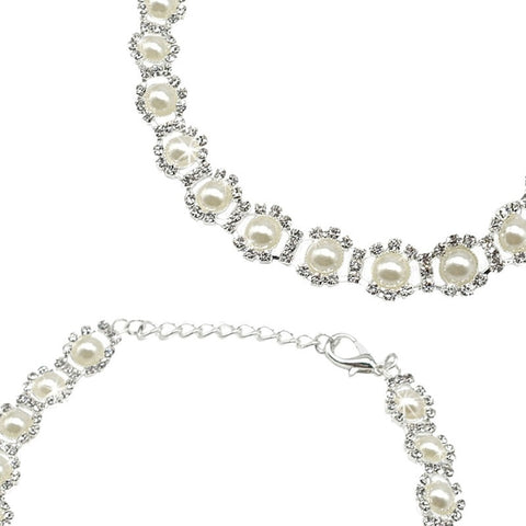 Rhinestone Pearl & Diamond Pet Necklace