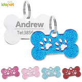 Adorable Paw Print Pet ID Tag with Free Engraving