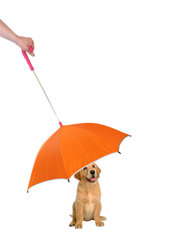 Pour-Protection Umbrella With Reflective Lining And Leash Holder - Orange With Red Handle