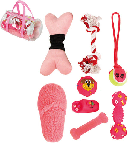 8 Piece Duffle Bag Pet Toy Set - Pink