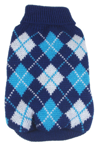 Argyle Style Ribbed Fashion Pet Sweater - Black/Blue Argyle