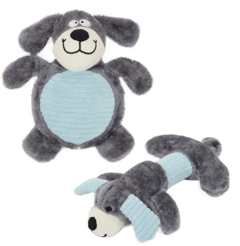 Pet Life Cozy Play Plush 2 Set Of Matching Squeaking Chew Dog Toys: Color Grey/Blue