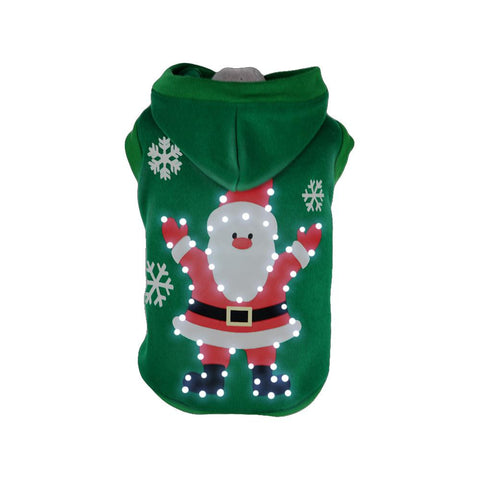 Pet Life LED Lighting Hands-Up-Santa Hooded Sweater Pet Costume