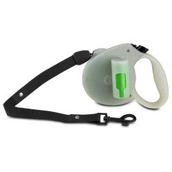 PAW Glow in the Dark Retractable Leash with Green Pick-up Bags