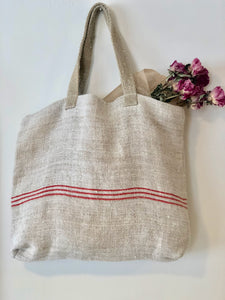 Striped Tote Bag - Red