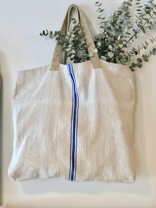 Striped Tote Bag - Blue
