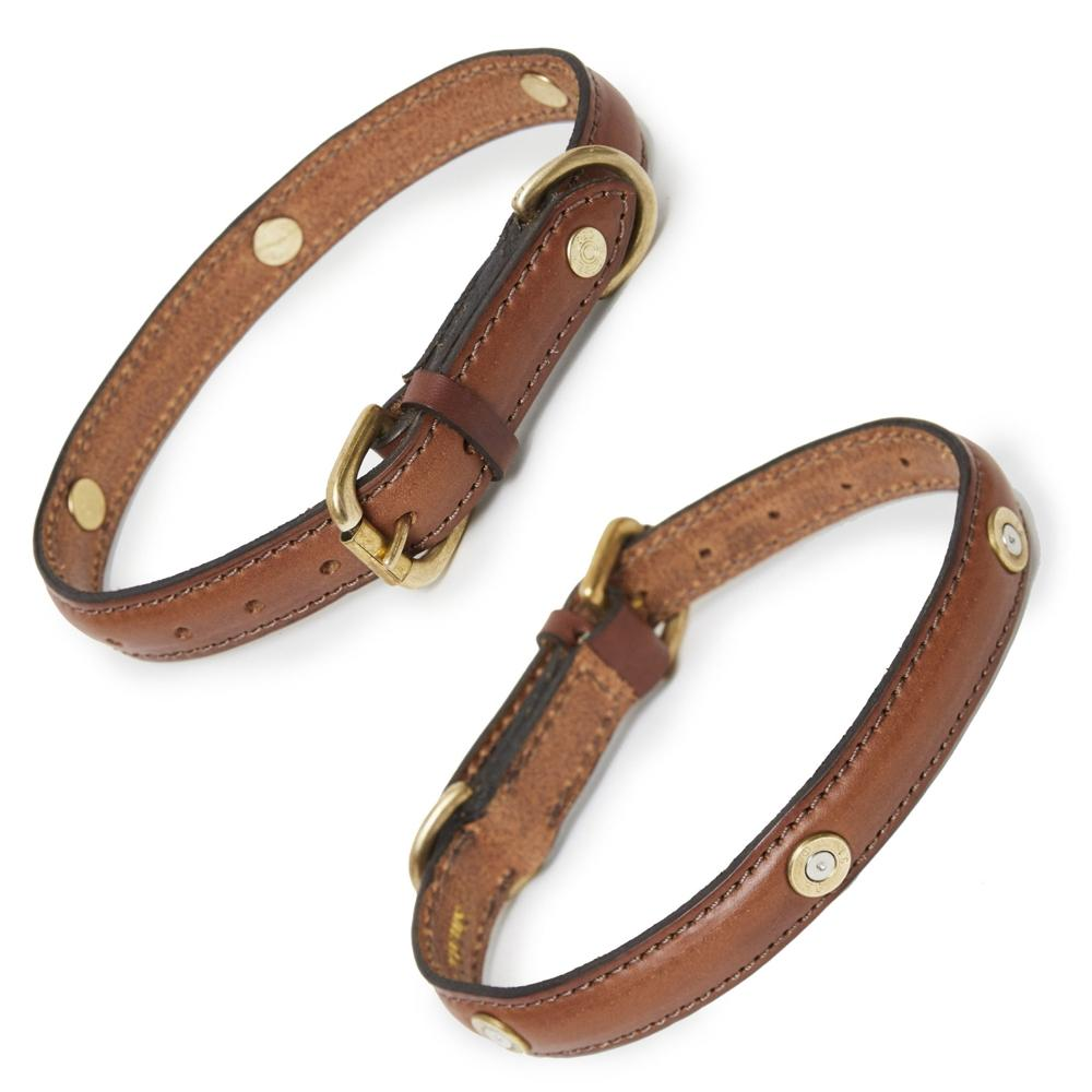 Hicks & Hide Stanway Multi Field Dog Collar Cognac Leather - RedMillsStore.ie