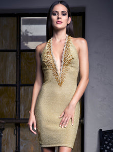 Gold short dress. Stretch lace handpainted cocktail dress. Short dresses near miami. Cocktail dresses for sale. Handmade short dresses for party.