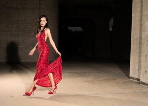 Red Sequin Mesh Floor Length Long Dress - Gowns. Look beyond sexy when you slip into this alluring long dress! This flawless sequin mesh dress features: a low back with ruching, two thin straps and a low V-neck. Fabric: 90% Polyester 10% Spandex Thickness of material: Thin-Show through. Long Dress. Miami Fashion Store
