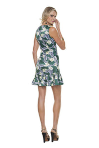 Green Floral V Neck Short Dress. Ocassion Woman Dresses. This dress fits everybody type beautifully. Details like a V neck line and bottom ruffles make this piece and lets not forget our tropical inspired floral print adds the fun to any event. Closure: Invisible Zipper Location: Wearers Left Side of Bodies. 100% Polyester