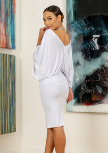 Midlength White Dress with Rhinestone Choker - Short Dress You'll find a reason to wear this pretty white dress that comes with the rhinestone choker. Playful sleeves and ruching back. Designed and made in Laguna Beach, CA Mostly lined. 80% Polyester 20% Spandex. 40 inches from shoulder to hem line. Miami fashion store
