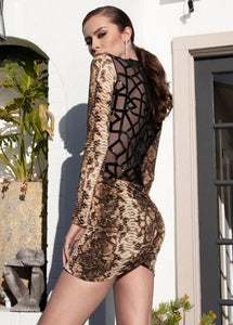 Brown Snake Skin Cocktail dress deep V-neck. Beba is a luxurious dress to give a form to your figure. A true classic. Designed and made in Laguna Beach with spandex and polyester. Short dress near Miami