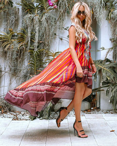 Multicolor Stripe Print High/Low Dress - Resort WEAR Miami Woman Store. Ruffle Hem High Low Dress with ruffled bottom and sleeveless makes this dress the hottest item this season. Delivery Time: 10-15 Business Days