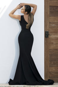 Adriana Painted Black Long Dress. Long dresses near miami. Party dresses for sale. Handmade shape long dresses for cocktail event. Cocktail party long dresses for woman. Latest Miami fashion long dresses and gowns for sale.