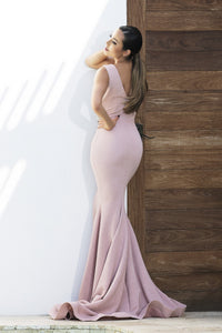 Adriana Painted Pink Long Dress. Long dresses near miami. Party dresses for sale. Handmade shape long dresses for cocktail event. Cocktail party long dresses for woman.