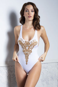 Classic one-piece Alina white swimsuit. Chic, comfortable and perfect swimwear. High quality Spandex and 3D paint lace application.