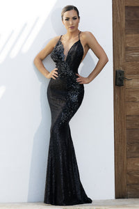 Allison Sequins Painted Black Platinum Long Dress. Miami Gowns Design