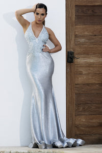Ligth Blue Long Dress. Dresses near miami. Party dresses for sale. Handmade shape long dresses cocktail event. Cocktail party long dresses for woman. Latest Miami fashion long dresses and gowns for sale.