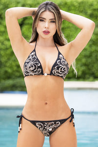 Bikini swimwear. Black platinum. Latest Miami fashion and couture swimwear for sale. Black platinum painted with gold metallic silicone Caviar glass crystallized with Swarovski elements. Swimwear.