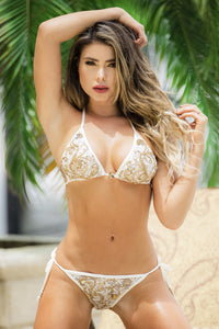 Find Bikini Lace Baccio Miami Fashion Design. Beach white champagne bikini swimwear. Latest Miami fashion and couture swimwear for sale.