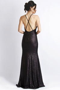 Sequin Black Gold Long Dress. Metallic Sequin handpainted cocktail dress. Gowns near miami. Long dresses for sale.