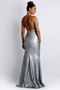 Sequin Silver Long Dress. Metallic Sequin handpainted miami long dresses. Handmade shape long dresses for party. Gowns near miami.