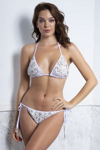 White Bikini and Top Set is stunning swimwear outfit. Finest fabrics. Available for all sizes. Perfect for pool parties. Buy it now from the Baccio Couture.