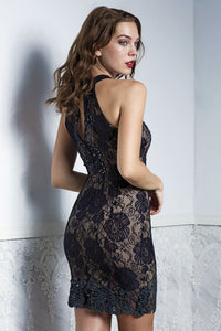 Sexy black lace cocktail dress. Cocktail party dress. Ultra-modern look with grace and elegance. Black is the perfect outfit for event, prom and party.