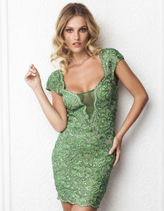 Stretch Lace Green Cocktail Dress. Short Dress. Prom dresses, party dresses for woman. Short dresses near miami. Handpainted short dress for woman.