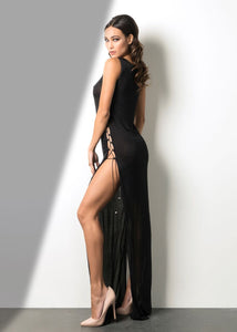 Black Lace Up Long Dress - Gowns. Timelessly beautiful and effortlessly romantic. Lorna is crafted in stretch fabric for a traditional look and feel and a more comfortable fit. Lace up sides with high split f. Wear this dress with your favorite heels.Designed and Made in California. Miami Fashion Woman Online Store.