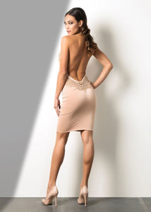 Cream Deep Back Short - Cocktail Dress. This mid length silhouette dress is crafted in soft fabric, making it supremely comfortable, yet sophisticated. The sexiest dress ever! Delivery Time: 10-15 Business Days. Cream Deep Back & V-Necklline Short Dress - Miami Fashion Online Woman Store. Short cocktail dress in miami