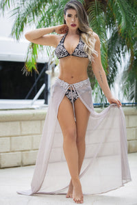 Platinum Skirt Bikini. Latest Miami fashion and couture swimwear and beachwear for sale. Miami beachwear. Beach fashion Platinum colors handpainted bikini fashion in miami. Swimwear. Love bikinis. Find Bikini Cover up lace Baccio Miami Fashion Design