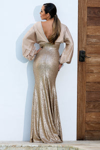 Sequins Silk Champagne Long Dress handpainted dress. Gowns fashion near miami. Sequins Silk Champagne gowns long dresses for sale. Long handmade dresses for weddings.