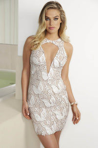 White Platinum Caviar handpainted cocktail dress. Stretch mesh crepe spandex dresses near miami. Cocktail dresses for sale. Handmade shape short dresses for party. Cocktail dresses for woman. Latest Miami fashion short dress for sale
