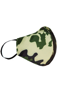 Handcrafted Green Camouflage Fashion Masks - Bacterial and viral filtering. High-quality Couture face masks. Our face masks have 5-layer protection for your safety. One size. Unisex face masks. Two Layers of Tulle, Lycra Spandex, Poplin cotton, Cambrelle/Antifluid Layer For fashion purposes ONLY not for medical purposes.