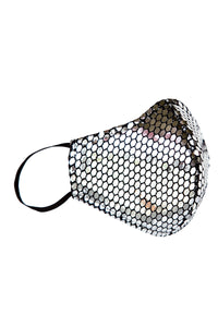 Handcrafted Platinum Crystals Fashion Masks - Bacterial and viral filtering. High-quality Couture face masks. Our face masks have 5-layer protection for your safety. One size. Unisex face masks. Two Layers of Tulle, Lycra Spandex, Poplin cotton, Cambrelle/Antifluid Layer For fashion purposes ONLY not for medical purposes