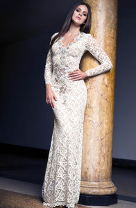 White Brown Lace long dress. Crepe spandex lace dress handpainted miami. Love handmade gowns. Long dresses for sale. Handmade shape long dresses for party.  Gowns, long dresses for woman. Gowns near miami. Latest Miami fashion formal woman dresses for sale. International shipping from $39.99. Free USA Ground shipping.