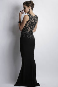Long crepe spandex handpainted caviar dress. Black Platinum Gowns. Gowns fashion near miami. Long dresses for sale.