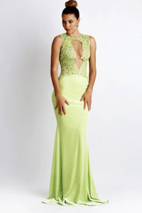 Crepe spandex jersey lace painted dress. Light Green Gowns. Long dresses near miami. Party dresses for sale. Handmade dresses for cocktail events. Cocktail party dresses for woman. Latest Miami fashion gowns for sale.